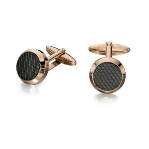 Preview image of Fred Bennett Rose Gold Plated Black Pattern Cufflinks