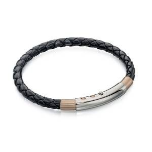 Preview image of Fred Bennett Thin Black Leather and Rose Gold Bracelet