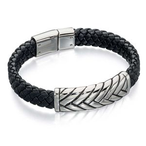 Preview image of Fred Bennett Black Leather Plaited Bar Bracelet
