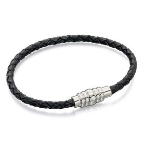 Preview image of Fred Bennett Thin Black Leather and Steel Clasp Bracelet