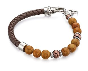 Preview image of Fred Bennett Brown Leather Beaded Bracelet