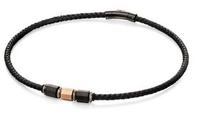 Preview image of Fred Bennett Thin Black Leather Beaded Necklace