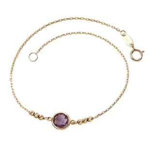 Preview image of Ladies 9ct Yellow Gold Amethyst Bracelet