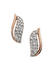 Preview image of Ladies 9ct Rose Gold Diamond Leaf Earrings