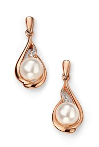Preview image of Ladies 9ct Rose Gold Pearl and Diamond Earrings