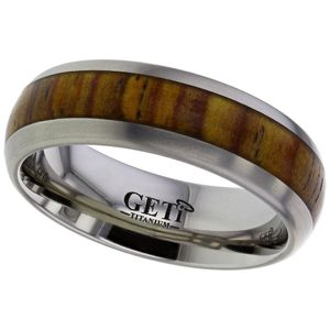 Preview image of Titanium 7mm Cocobolo Wood Gents Wedding Ring