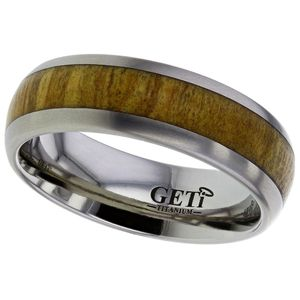 Preview image of Titanium 7mm Olive Wood Gents Wedding Ring