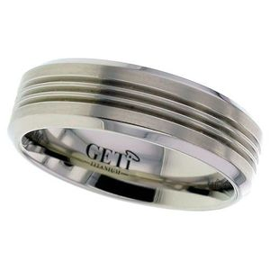Preview image of Titanium 7mm 3-Line Groove Gents Wedding Ring