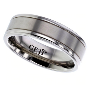 Preview image of Titanium 6mm Flat Brushed & Polished Gents Wedding Ring