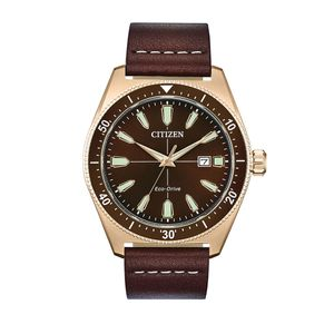 Preview image of Citizen Brycen Rose Gold Plated Brown Leather Strap Watch