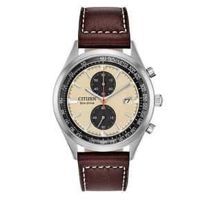 Preview image of Citizen Chandler Stainless Steel Brown Leather Strap Watch