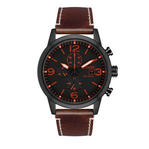 Preview image of Citizen Black Dial Brown Leather Strap Gents Chronograph Watch
