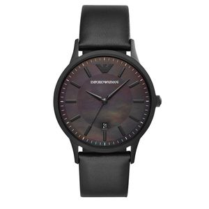 Preview image of Emporio Armani Renato Gents Black Mother of Pearl Strap Watch