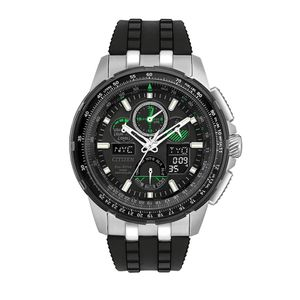 Preview image of Citizen Black and Green Skyhawk A-T Alarm Radio Controlled Eco-drive Rubber Strap Watch