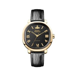 Preview image of Vivienne Westwood Mayfair Gold Plated Black Leather Strap Watch