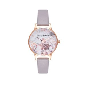 Preview image of Olivia Burton Rose Gold Plated Marble Florals Grey Lilac Strap Watch