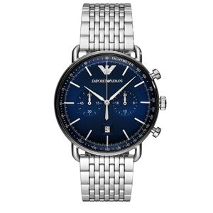 Preview image of Emporio Armani Aviator Gents Chronograph Blue Dial Bracelet Watch