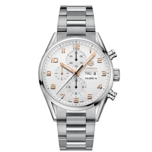 Preview image of Tag Heuer Carrera Men's White Calibre 16 Chronograph Automatic Bracelet Watch