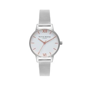 Preview image of Olivia Burton Ladies Midi White Dial & Silver Mesh Watch