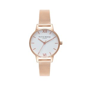Preview image of Olivia Burton Ladies White Dial Rose Gold Mesh Watch