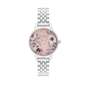 Preview image of Olivia Burton Midi Rose Quartz & Silver Bracelet Watch