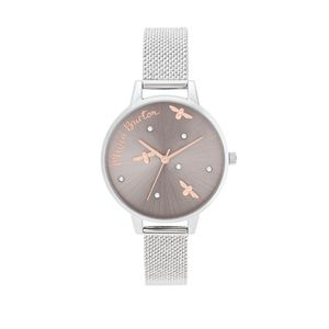 Preview image of Olivia Burton Pearly Queen Rose Gold & Silver Mesh Watch