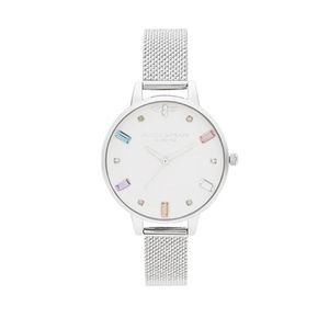 Preview image of Olivia Burton Rainbow Bee Demi Silver Boucle Mesh Watch