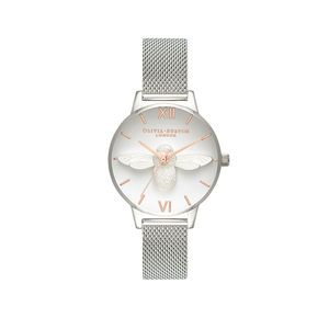 Preview image of Olivia Burton Ladies 3D Bee Rose Gold & Silver Mesh Watch