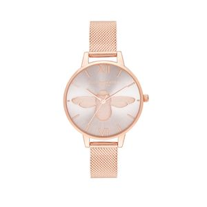 Preview image of Olivia Burton Bee Demi Blush Dial & Rose Gold Mesh Watch