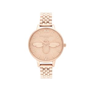 Preview image of Olivia Burton Glitter Bee 3D Bee & Pale Rose Gold Bracelet Watch