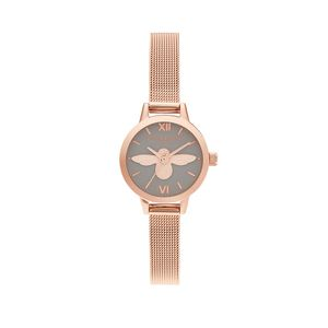 Preview image of Olivia Burton 3D Bee, Grey Dial & Rose Gold Mesh Watch