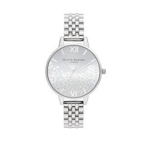 Preview image of Olivia Burton Ladies Bejewelled Lace Silver Bracelet Watch