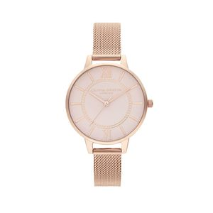 Preview image of Olivia Burton Wonderland Grey Dial Pale Rose Gold Mesh Watch