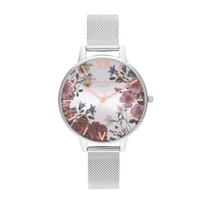 Preview image of Olivia Burton Ladies British Blooms Rose Gold & Silver Mesh Watch