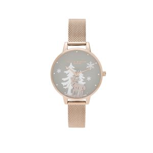 Preview image of Olivia Burton Winter Wonderland Pale Rose Gold Mesh Watch