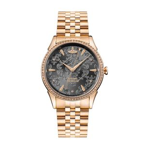 Preview image of Vivienne Westwood Wallace Rose Gold Plated Grey Dial Bracelet Watch
