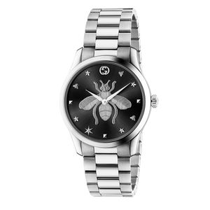 Preview image of Gucci G-Timeless 38mm Bee Black Dial Steel Bracelet Watch