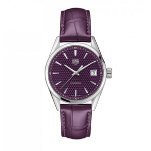 Preview image of Tag Heuer 36mm Ladies Purple Dial and Strap Carrera Watch
