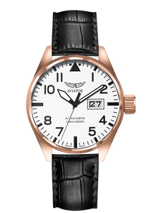 Preview image of Aviator Airacobra P42 Rose Gold Plated White dial gents Strap Watch