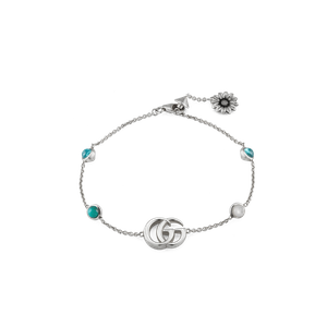 Preview image of Gucci Double G Stone Set Flower Silver Bracelet