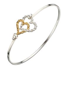 Preview image of Ladies Silver and YGP Heart Bangle