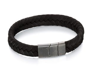 Preview image of Fred Bennett Black Leather Plaited Bracelet