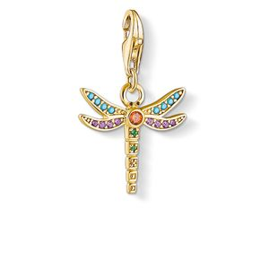 Preview image of Thomas Sabo Yellow Gold Plated Multi Coloured Dragonfly Charm