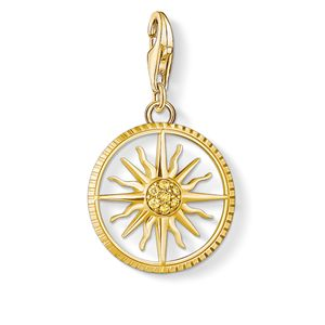 Preview image of Thomas Sabo Yellow Gold Plated Cubic Zirconia Sun Disc Charm