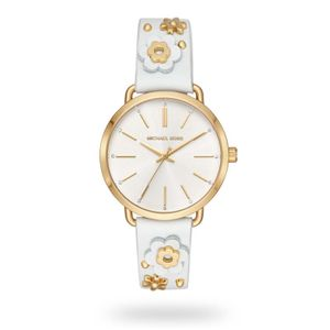 Preview image of Michael Kors Portia Yellow Gold Floral Strap Watch