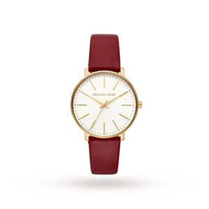 Preview image of Michael Kors Pyper Red Leather Strap Watch