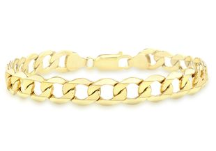 Preview image of 9ct Gold 8.5'' 6 Sided Curb Gents Bracelet