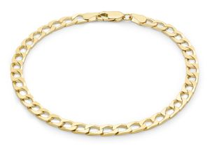 Preview image of 9ct Gold 8'' Flat Square Curb Gents Bracelet