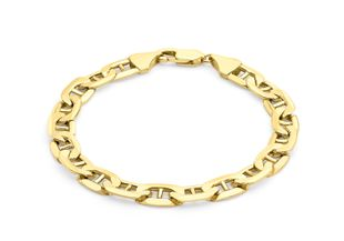 Preview image of 9ct Gold 8'' Flat Curb With Bar Gents Bracelet