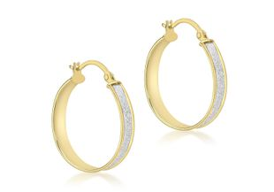 Preview image of 9ct Gold Stardust Creole Hoop Earrings